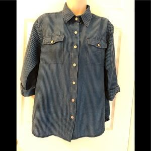 Chico's Design Silk Gingham Roll Tab Button Up Top